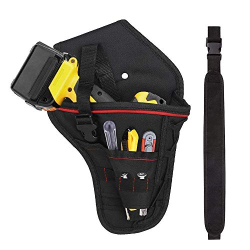 LYTIVAGEN Drill Holster Portable Impact Driver Drill Holder with Waist Belt for Wrench Hammer Screwdriver and Most T Handle Drills(Black)