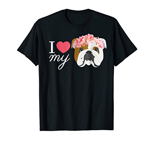 Mens I Love my English Bulldog and Flowers Shirt Medium Black