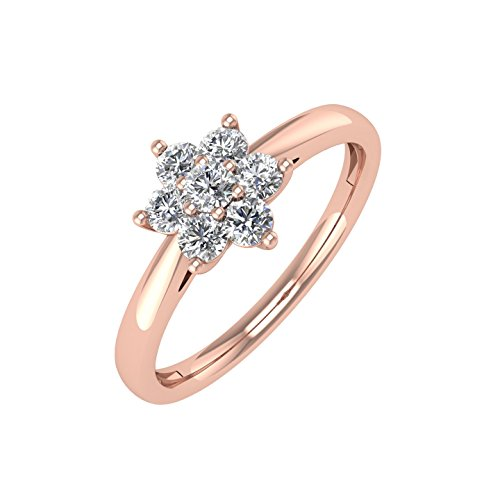 14K Rose Gold Flower Shaped Cluster Diamond Ring Band (1/4 Carat) - IGI -
