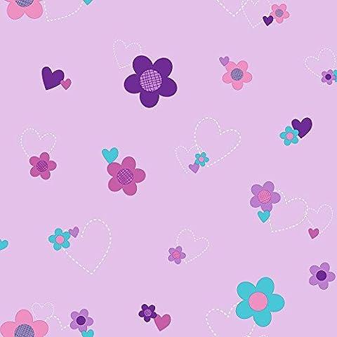 York Wallcoverings DS7680 Walt Disney Kids II Flower and Hearts Wallpaper, Light Purple/Dark (Dark Purple Wallpaper)