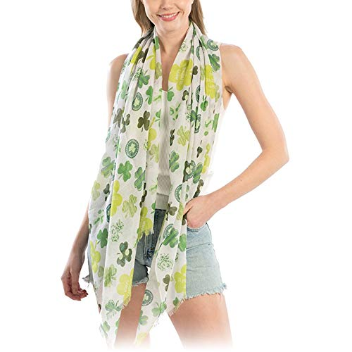 Me Plus St Patrick's Day Green Clover Shamrock Party Holiday Oblong Scarf (Large Clover-White)