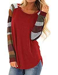 Women Casual Shirts Mutil Color Striped Long Sleeve Tops...