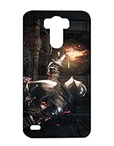 Dark Souls III Cell Phone Cover Case for LG G3 Funda Piel Cool Game Girls Boys (Negra and Diseño) 3D Dura Plastik Protect Luz Vintage Snap on Anti Scratch Case for LG G3