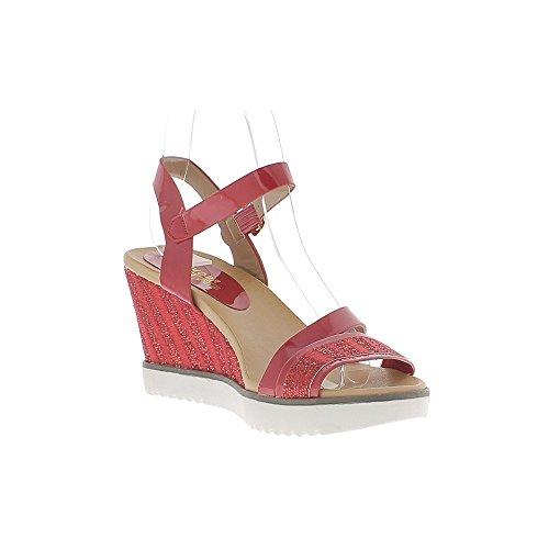 Las mujeres sandalias de cuña pintado rojo y diamantes de imitación de tacón 8, suela de 5cm blanco