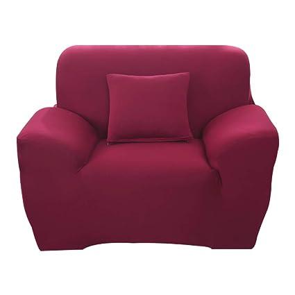 Hotniu Funda Elástica de Sofá Funda de Color Liso para sofá Antideslizante Protector Cubierta de Moda (Una Plaza, Rojo Vino)