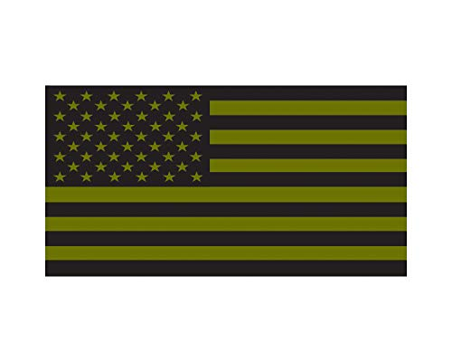 - Morale Tags O.D. Green American Flag Military Vinyl Decal 2.11 x 4 Sticker for Cars Trucks Laptops (O.D. Green)