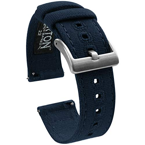 22mm Navy Blue - Barton Canvas Quick Release Watch Band Straps - Choose Color & Width - 18mm, 19mm, 20mm, 21mm, 22mm, or 23mm