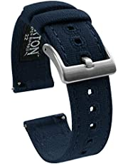 BARTON Canvas Quick Release Watch Band Straps - Choose Color & Width - 18mm, 19mm, 20mm, 21mm, 22mm, 23mm, or 24mm