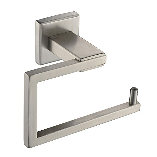 Square Toilet Paper Holder, Angle Simple SUS304 Stainless Steel Bathroom Tissue Holder Toilet Paper Roll Hanger Bath Tissue Roll Holder For Bahroom Remodel Wall Mount, Brushed Nickel -