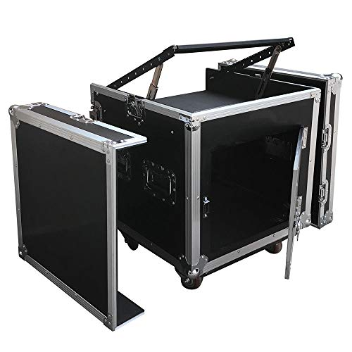 Durable 12 Space Rack Case with Slant Mixer Top DJ Mixer Cabinet w/ 4pcs ()