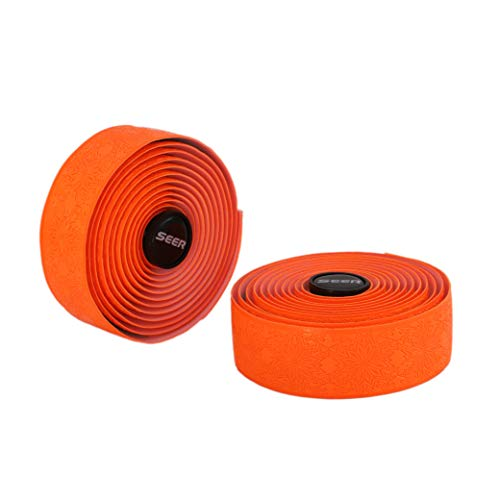 lebar Tape PU Road Bike Comfortable Cycling Wrap Grips (Orange) ()
