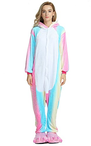OLadydress Unisex Unicorn Costumes Pyjamas, Adult Women Men Animal Cosplay Onesie Colored Blue Large