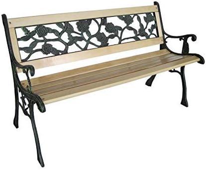 Banco de jardín de 3 plazas de madera con diseño de rosas y pata de hierro fundido: Amazon.es: Jardín
