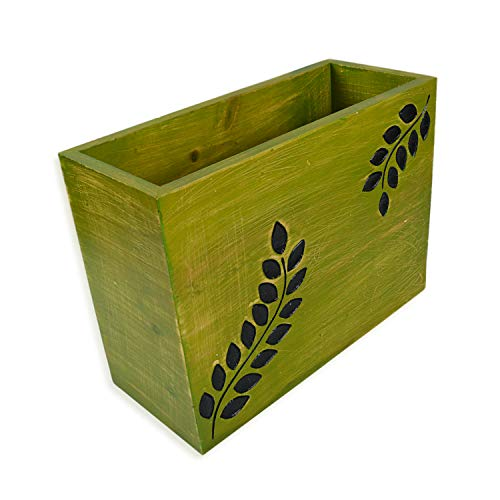 roro Wood Magazine and Book Holder with Hand-Carved Tropical Motif - 12 Inch Green Fern