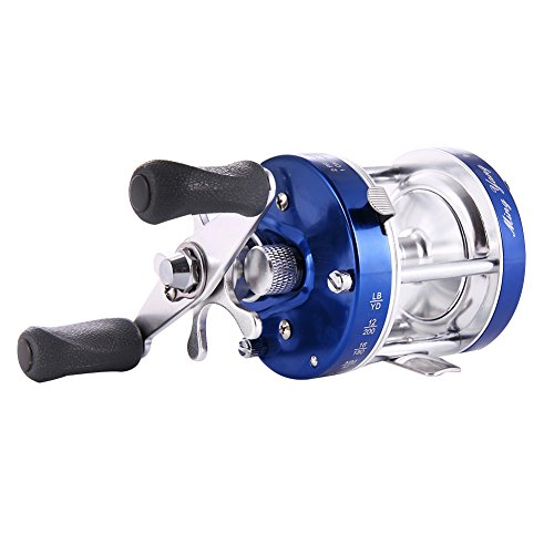 Isafish Bait casting Fishing Reel Blue Left Hand Baitcaster Reel with Oversized Handle ()