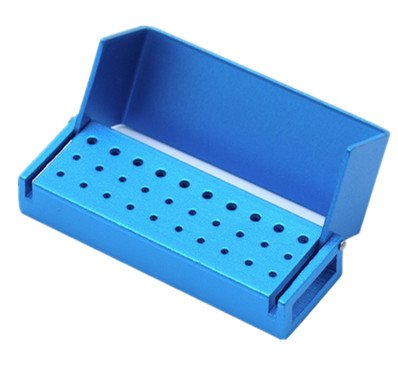 Ikakon 30 Holes Dental Disinfection Burs Holder Opening Box Dental Lab Aluminum Bur Case