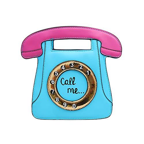 Embrayage Main Sac Qiulv Rétro Téléphone PU Chaîne Fourre Forme De Épaule Femme Blue Tout Bandoulière en Cuir Sac Messager Mode À qxvxAwgS