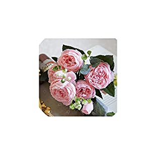 Beautiful Rose Peony Artificial Silk Flowers Small Bouquet Home Party Spring Wedding Decoration Fake Flower,7 14