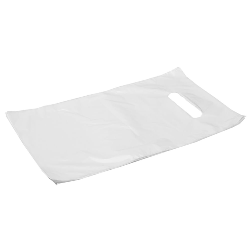 Ling White plastic bag with punch hole handle 20x30cm, 100pcs/pack