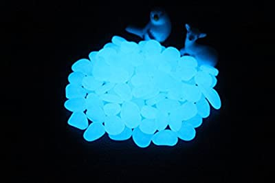 Yes!U Glow in the Dark Garden Pebbles,Glow Stones for Walkways Outdoor Decor Aquarium Fish Tank Garden Decorative Stones for Path Lawn Yard Walkway -Green & Blue come with 10 decorative shelves