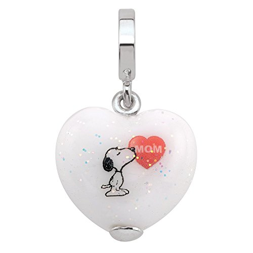 Persona 925 Sterling Silver Kisses to Mom Snoopy Dangle Charm H15086PM - Heart Kiss Italian Charm