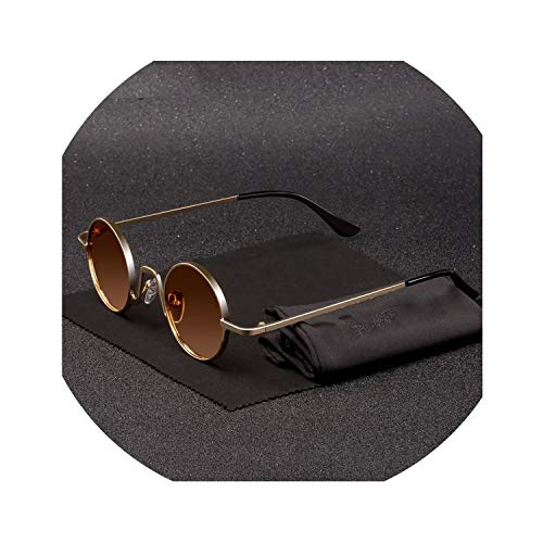 (Vintage Rap Sunglasses Men Women Steam Punk Style Hip Hop Small Round Metal Frame Eyewear Retro Gafas De Sol No Case,N6 Gold Tea)