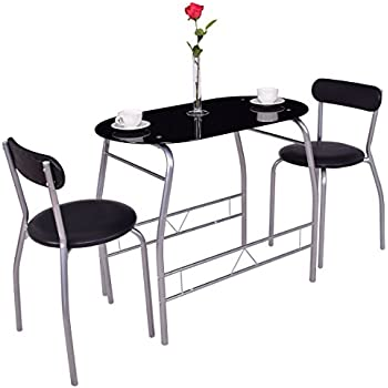 Tangkula 3 Piece Dining Set Glass Modern Furniture Tabel And Chairs Bistro  Set