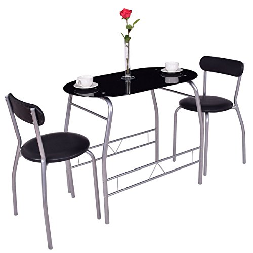 Tangkula 3 Piece Dining Set Glass Modern Furniture Tabel and Chairs Bistro Set (Glass Black Bistro Table)