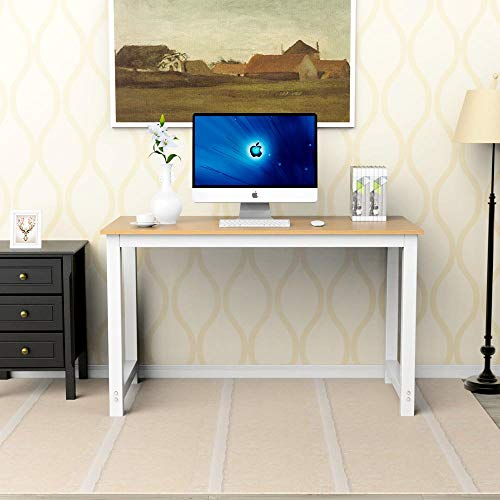 Yaheetech Modern Computer Desk PC Laptop Study Writing Table Wood Desktop Workstation for Office Home Brown