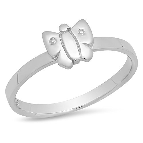 Size 3 Sterling Silver Rhodium Plated Childs Polished Butterlfy Ring