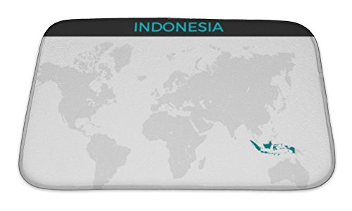 Gear New Bath Mat For Bathroom, Memory Foam Non Slip, Republic Of Indonesia Location Modern Detailed Map All World Countries Without, 24x17, 5972494GN by Gear New