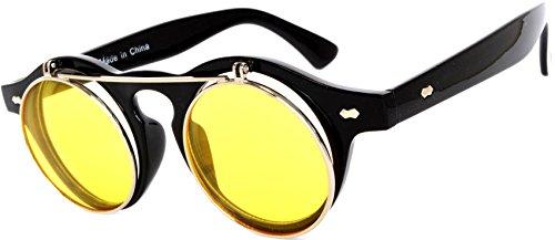 Steampunk Retro Gothic Vintage Hippie Colored Metal Round Circle Frame Sunglasses Colored Lens OWL (FlipUP_C5_Blk_Yellow, PC - Vintage Online Sunglasses