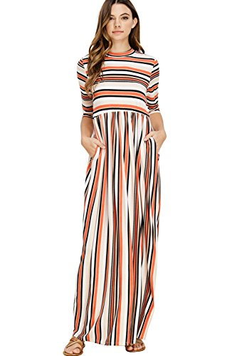 Annabelle Women's Casual 3/4 Sleeve Bohemian Long Maxi Pocket Dresses With Stripe Geo Prints Small Coral D5380
