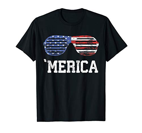 - Merica Sunglasses T-Shirt Patriotic Fourth of July Gift T-Shirt