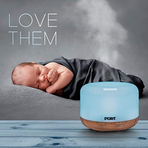 Port Essential Oil Diffuser 500ml, Essential Oils Electric Vaporizer/Nebulizer with 7 LED Colors, Cool Mist Ultrasonic Humidifier, Quiet & Relaxing Evaporative Air Freshener for Home, Office Or Spa