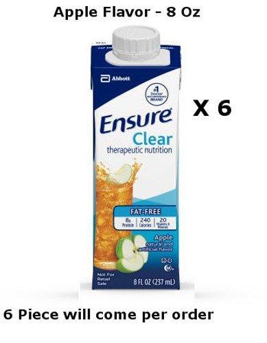 Ensure Nutritional Supplements (Ensure Clear Apple Flavor Oral Supplement 8 oz Recloseable Tetra Carton Lot of 6)