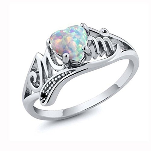 Clearance Haoricu Hot Sale! Love Mum Heart Shaped Diamond Ring Jewelry Best Gift for Mother Party Wedding Band Rings (6, Multicolor) ()