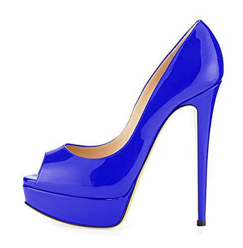 Zapatos Tallas Sandalias Mujer Cordones Sin de Plataforma Tacon Grandes Azul uBeauty Zapatillas qHAYxtw1p