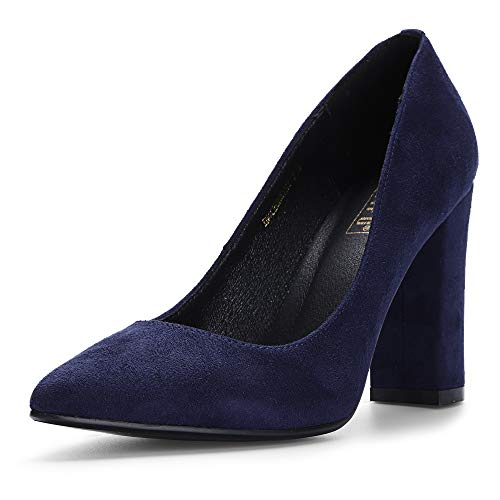 IDIFU Women's IN4 Chunky-HI Classic Closed Pointed Toe Pumps High Chunky Block Heels Dress Office Shoes (Blue Suede, 6 M US) ()