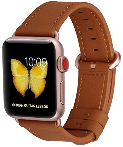 (PEAK ZHANG Compatible with Apple Watch Band 38mm/40mm 42mm/44mm Women Men Leather Replacement Strap with Series 4/3 Rose Gold Clasp for iWatch Series 4,3,2,1 (Earth Yellow, 38mm 40mm S/M))