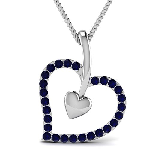 White Gold Round Omega Chain - OMEGA JEWELLERY 0.30 Cttw Round Blue Sapphire & Natural Diamond 10K White Gold Love Heart Pendant (Chain Not Included)