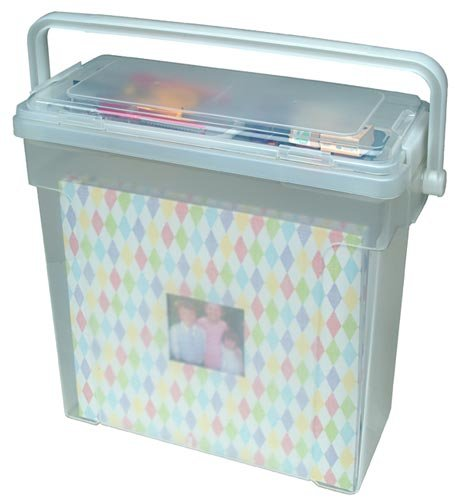 IRIS Portable Scrapbook File Box, (Scrapbook Storage Totes)