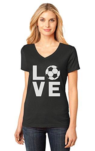 I Love Soccer for Soccer Players/Fans V-Neck Women T-Shirt X-Large Black