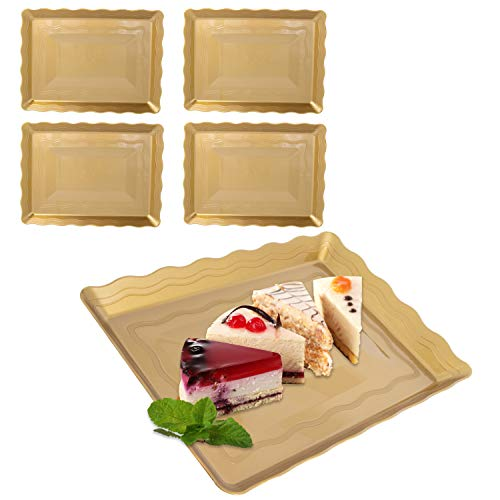 (9 x 13 Gold Plastic Serving Trays 4 Pack Platters Disposable For)
