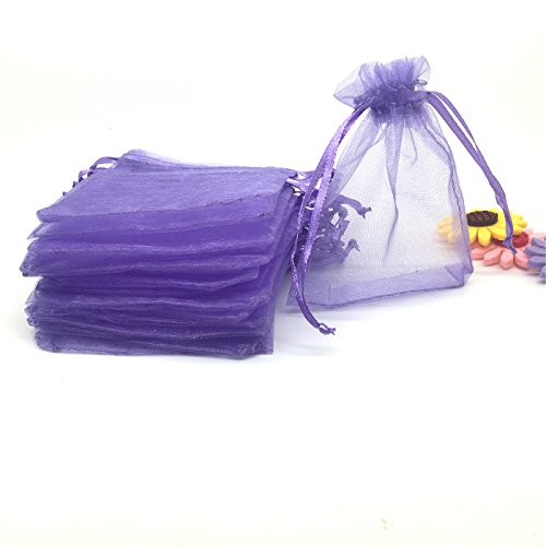 YIJUE 100pcs 4x6 Inches Drawstrings Organza Gift Candy Bags Wedding Favors Bags (Lavender) ()