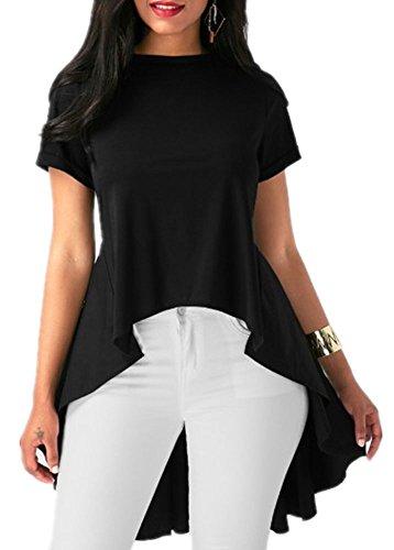 Inorin Womens Tops Blouses Shirts Tunic Fall High Low Swing Ruffle Flowy Asymmetrical Dress