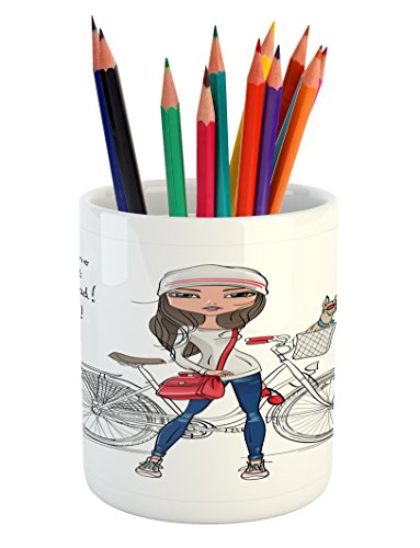 Cute Pencil Pen Holder by Lunarable, Hipster Fashion Girl with Bicycle and Cute Dog with Sunglasses Inspirational Quote, Printed Ceramic Pencil Pen Holder for Desk Office Accessory, Red Grey - Sunglasses Brothers Quotes Blues