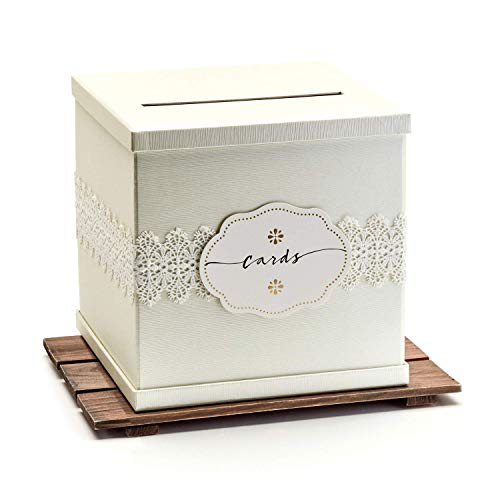 "Hayley Cherie - Ivory Gift Card Box with White Lace and Cards Label - Ivory Textured Finish - Large Size 10"" x 10"" - Perfect for Weddings, Baby Showers, Birthdays, Graduation"