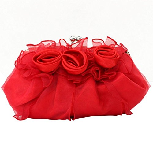 Evening Belsen Wedding Bags Red Rose Women's Satin Flower qXzWRXSwg