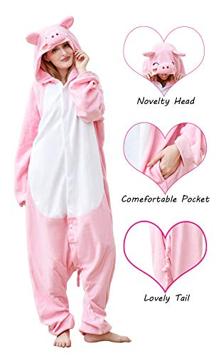 (Olivia Coral Lovely Onesie Unisex Adult Animals One-Pieces Pink Pig Pajamas Cosplay Animal)